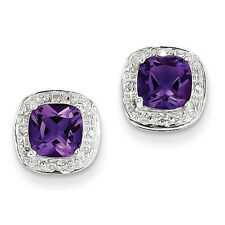 Sterling Silver Rhodium Plated Genuine Amethyst & Diamond Polished Post Earrings