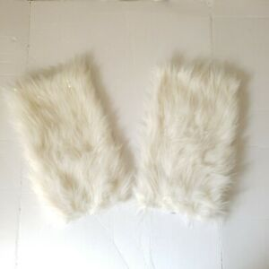 Fuzzy Leg Warmers-White With Gold Accents. One Size Fits Most. E4