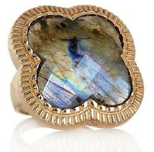 CL by Design Labradorite Clover Bronze Iridescent blue-green color Ring Sz 9
