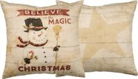 "Christmas "" BELIEVE IN THE MAGIC "" Snowman Pillow Primitives by Kathy 20"""