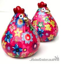 More details for pomme pidou chicken salt & pepper pots colourful ceramic quality hen lover gift