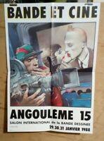 Affiche Bande et Ciné Angoulême 15 Bilal Salon BD janvier 1988 TINTIN 37 x 52 cm