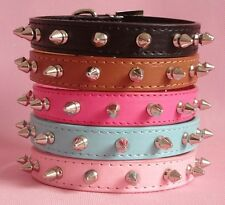 Smooth PU Leather Spiked Studded Dog Collars Puppy Pet Collars S M L XL