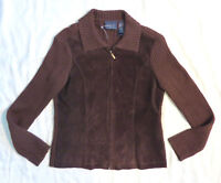Crazy Horse a Liz Claoborne Company Suede Leather Brown Cardigan Sweater M