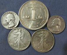 LOT 4 US SILVER COINS & 1 OZ .999 EAGLE & FLAG ROUND 1942 1943 LIBERTY HALF $