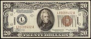 1934 A $20 DOLLAR BILL WWII HAWAII BROWN SEAL NOTE CURRENCY OLD PAPER MONEY