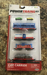 Power Trains 2.0 Car Carrier Car Pack Includes 4 Train Cars 2 Small Vehicles