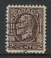 Perfin D4-DG/co (Hamilton, ON): Scott 196, 2c King George V Medallion Position 1