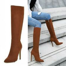 New Women's Pointy Toe Suede Stiletto Mid-Calf Knee High Boots Size 34-46 Party