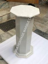 "24"" White Marble Coffee Kitchen Stand Handmade Pedestal Base Decor E529"