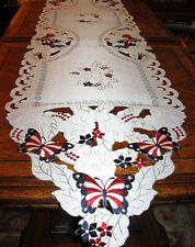 American Flag Patriotic Butterfly Table Runner Embroidered 4th of July Decor