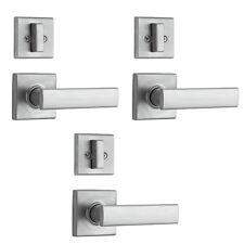 Kwikset Vedani Hall and Closet Locking Door Handle Lever Set, Chrome (3 Pack)