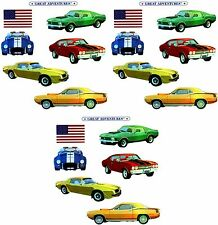 Mrs Grossman Muscle Cars II Mix 1 Stickers Cuda Chevelle Mustang Trans Am