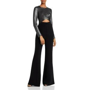 Black Halo Womens Angie Metallic Cut Out Evening Jumpsuit BHFO 0394