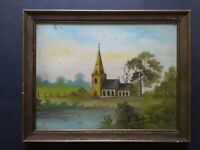 Antique Landscape Oil Painting, Church, 1910s, Early 20th Century, Naive Art