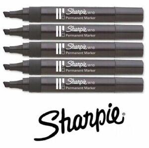 W10 Sharpies Chisel Nib Black Permanent Marker Genuine Brand Choose Quantity