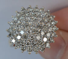 2 3/4 CT Round Cut Sim Diamond Huge Engagement Cluster Ring In 10K Yellow Gold