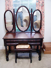 18th Century French Ladies Mahogany Dressing Table 4 Drawers 3 Mirrors Rare Stun