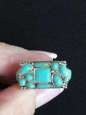 STERLING SILVER 925 TOURQUOISE SOUTHWESTERN RING~ SZ 5.50