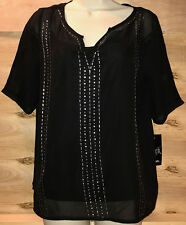 NWT WRANGLER Rock 47 Half Sleeve Chiffton Top with Beading Black Shirt Medium
