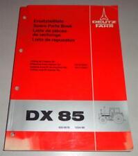 Catalogue des Pièces / Liste Pièces Détachées Deutz Fahr Tracteur Dx 85