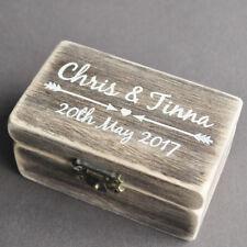 Rustic Wedding Ring Box, Personalized Ring Bearer Box Vintage Wedding Decor