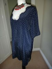 Sentiments Vintage Polka Dot Navy Satin Nightdress Size 10/12