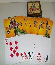 "RARE Jumbo Deck Playing Cards 7"" x 5"" Hawaiian Hula Girl Tiki Lounge EC"