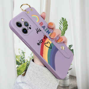 For iPhone 12 11 Pro Max X XR XS SE 8 7 Silicone Case Wristband  Stand Cover