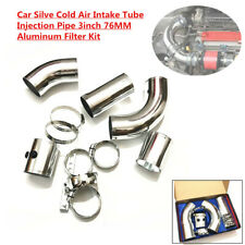 """Car Truck Silve Cold Air Intake Tube Injection Pipe 3""""76MM Aluminum Filter Sets"""