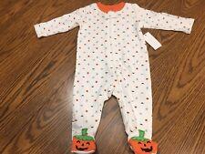 Infant Baby Halloween Pumpkin Ghost Full Zip Sleeper Pajamas Size 3-6 Months