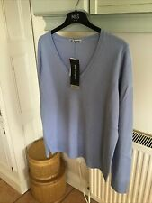 M&S Autograph Ladies 100% Cashmere V Neck Jumper Periwinkle Blue Size 18 BNWT
