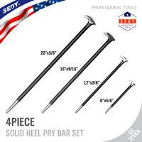 "4pc Steel Heel Pry Bar Set 6"" 13"" 16 20"" Aligning End Toe Crow Foot Rolling Head"