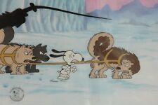Peanuts Production Cel Snoopy Huskies Dog Sled Iditarod Signed Bill Melendez