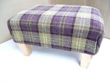 Footstool / Pouffe / Small Stool / Quality Plum Tartan Wood Legs British Made