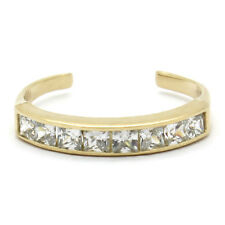 14K Yellow Gold Adjustable Channel-Set Band Toe Ring with Princess Cz