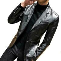 Mens Blazer Leather Jacket Lapel Formal Dress Slim Fit Cool Motor Coat 2019 New