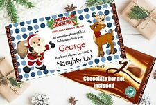 Personalised Christmas Eve Box Chocolate Wrapper Naughty List Stocking Filler