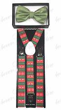 Christmas Suspender & Green Venetto Bowtie - Unisex Adjustable Elastic Combo