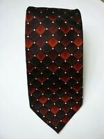 "Van Heusen Mens Tie 57"" x 3.5"" Silk Black Red Geometric - T386"