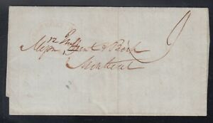 Canada 1845 Stampless STEAM BOAT LETTER Q Montreal SFL Quebec