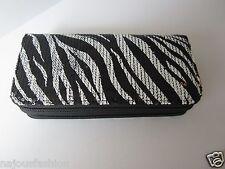 Cute Wristlet Wallet/Clutch purse Black/White Sequins 2 zippers detachable strap