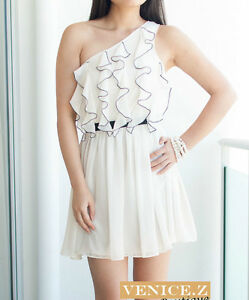 sale!BNWT RRP$109.95 LIPSY  One Shoulder Angel Frill Dress Chiffon Beige size 8