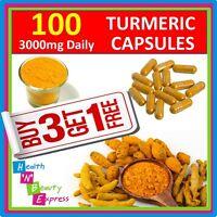 3000mg Daily TURMERIC CAPSULES X 100 CURCUMA LONGA LINN TUMERIC CURCUMINOID HPLC