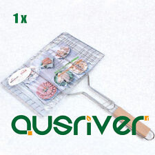 Barbecue Grill BBQ Net Mesh Wood Handle Wire Clamp Stainless Steel Picnic Tool