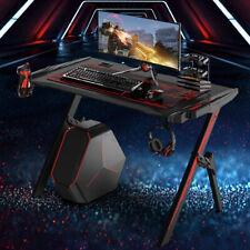 LED Computertisch Ergonomische Gaming Tisch R-förmiger PC Bürotisch Schreibtisch