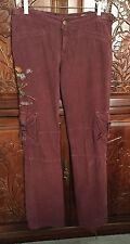Da Nang Embroidered Phoenix Fine Soft Corduroy Cotton Cargo Pants Size M