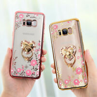 Luxury DIY Bling Diamond Crystal Ring Holder Stand Soft TPU Case Phone Cover