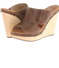 DR SCHOLLS FARIDA NOCE WOMENS WEDGES Slides Mules Brown Size 9.5 M