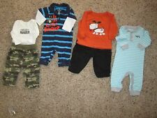 Boys 0-3 Fall outfits 2 one pc outs, 2-two pc, camo, little brother, 4 total